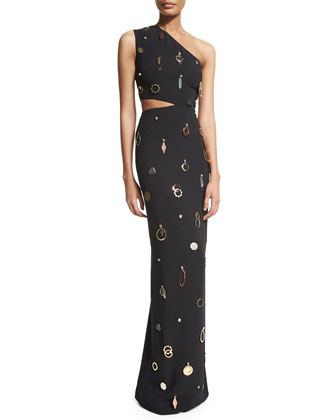One-Shoulder Jewelry-Embellished Gown, Black