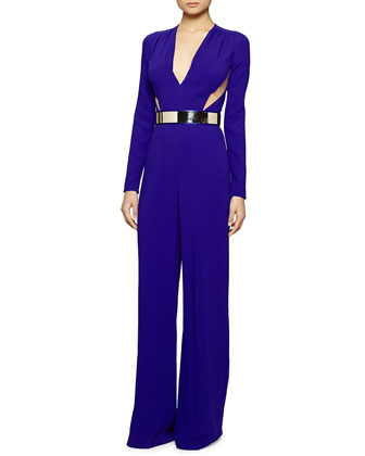 Long-Sleeve Side-Cutout Belted Jumpsuit
