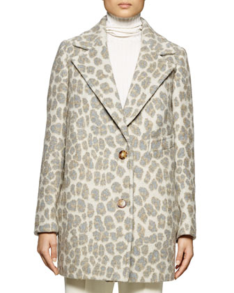 Leopard-Print Double-Button Coat, Long-Sleeve Ribbed Turtleneck Sweater & ...