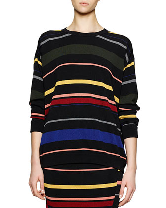 Crewneck Striped Knit Top
