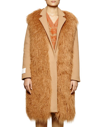 Not A Fur Coat Faux-Fur Long Coat, Leopard-Pattern Mohair-Blend Sweater & ...