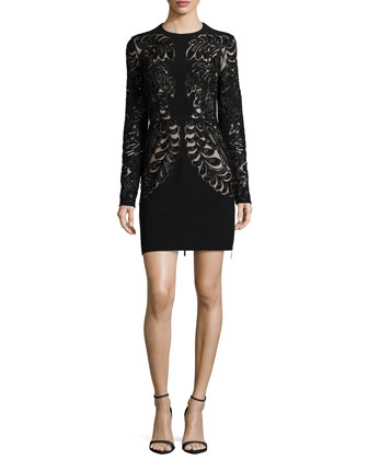 Long-Sleeve Lace Cutout Cocktail Dress