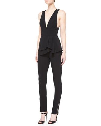 Sleeveless Peplum-Waist Jumpsuit, Black