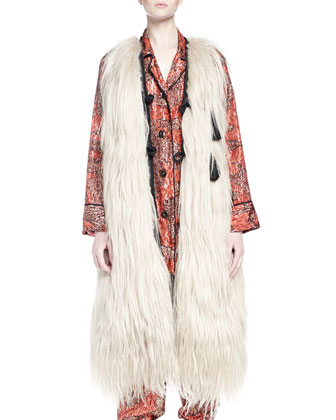 Long Fur Vest Coat, Long-Sleeve Metallic-Print Pajama-Inspired Top & Pants