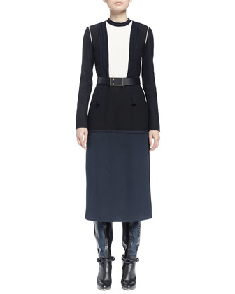 Long-Sleeve Colorblock Dress, Navy Blue