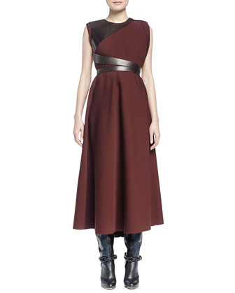Sleeveless Jewel-Neck Combo Long Dress, Moka