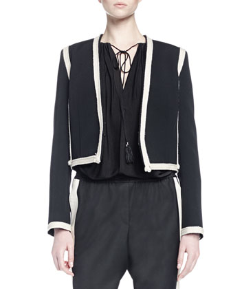 Long-Sleeve Tie-Front Peasant Blouse, Two-Tone Cropped Jacket, & Slouch ...