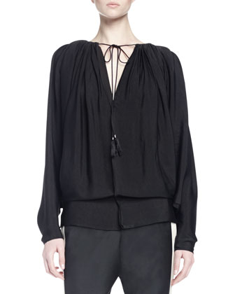Long-Sleeve Tie-Front Peasant Blouse, Black