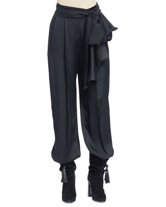 Full-Leg Pants with Waist-Tie, Black
