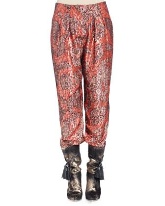 Long Fur Vest Coat, Long-Sleeve Metallic-Print Pajama-Inspired Top & Pants