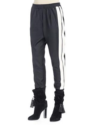 Ribbed Long Fringe Vest, Slub Knit Turtleneck Top & Two-Tone Slouch Pants ...