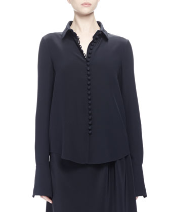Long-Sleeve Button-Front Blouse, Navy
