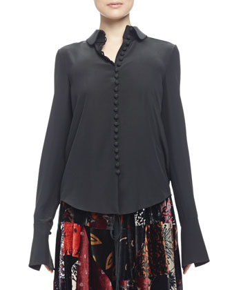 Georgette Button-Front Blouse, Black