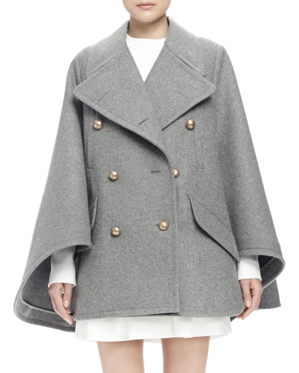 Double-Breasted Cape Coat, Gray, Size: 34 - Chloe