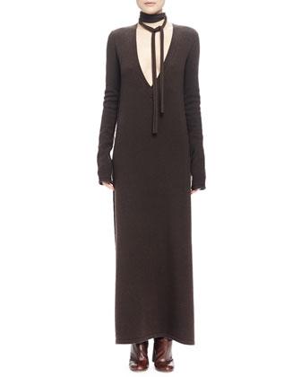 Long Cashmere-Blend Knit Dress w/Plunging Neckline, Black