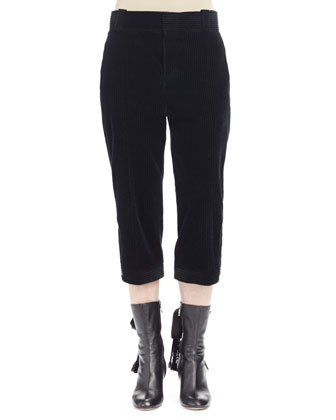 Wide-Corduroy Cropped Pants, Black