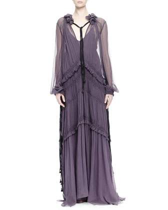 Ruffled Peasant Gown, Purple