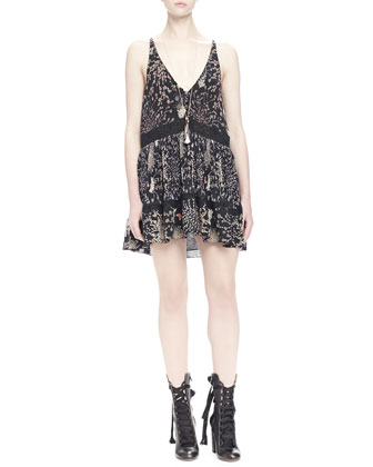 Botanical Herb Sleeveless Dress, Black
