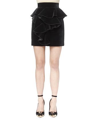 Short-Sleeve Leaf-Beaded Tee & Short Velveteen Ruffle-Front Skirt