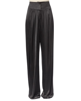 Allover Beaded Fringe-Front Top & Pleated Satin Pants