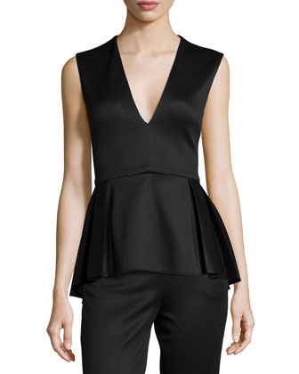 Deep V-Neck Pleated Peplum Top