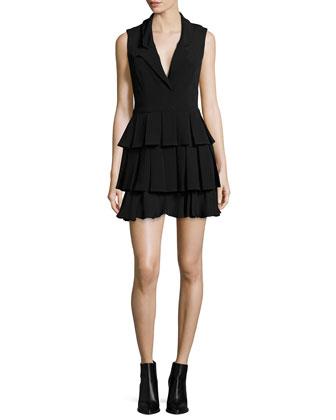 Tuxedo Tiered-Ruffle Dress