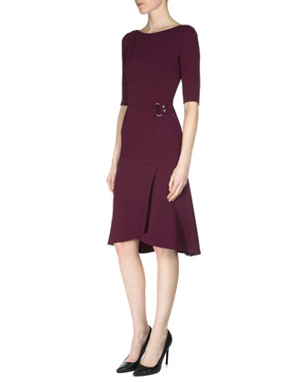 Caneva Asymmetric-Hem Cape & Healey Elbow-Sleeve Side-Drape Dress