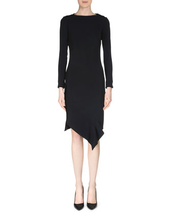 Marsili Long-Sleeve Asymmetric-Hem Dress, Black