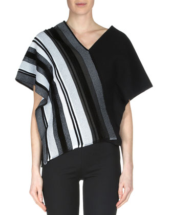 Latrilla Wide-Stripe Off-The-Shoulder Top, Black/White
