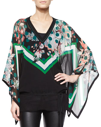 Mixed-Print Full-Sleeve Tunic