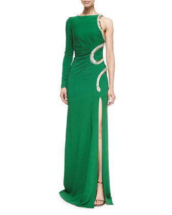 Snake-Embellished One-Sleeve Gown