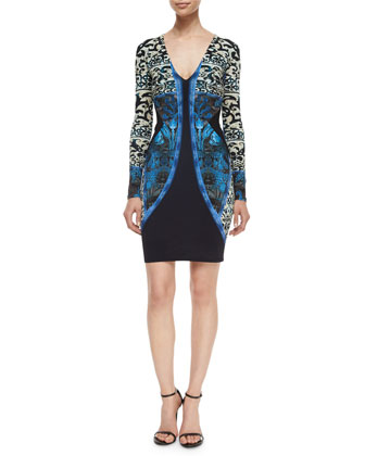 V-Neck Scroll-Print Sheath Dress