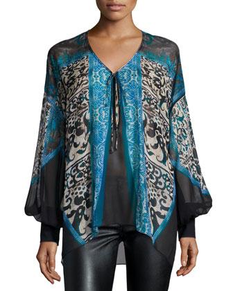 Long-Sleeve Floral-Print Chiffon Blouse, Blue/Celeste