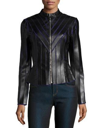 Laser-Cut Leather Contrast Jacket