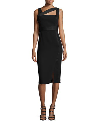 Asymmetric Satin-Trimmed Sheath Dress
