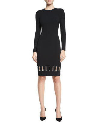 Long-Sleeve Metal Eyelet Sheath Dress