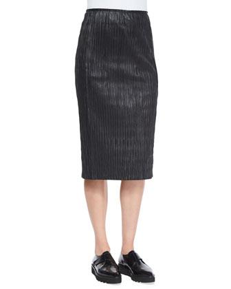 Plisse Pleated Leather Pencil Skirt