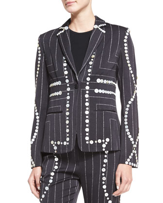 Square Pinstripe Button-Trimmed Blazer