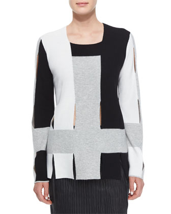 Colorblock Weave Knit Sweater & Plisse Pleated Leather Pencil Skirt