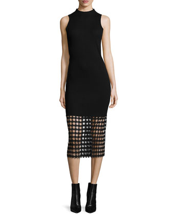 Chain Lace-Hem Ribbed Sheath Dress