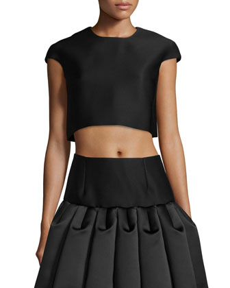 Cap-Sleeve Crop Top & Ruffled A-Line Skirt