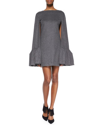 Ruffled Wool Flannel Cape Dress