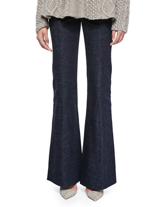 High-Waist Flare-Leg Denim Pants, Indigo