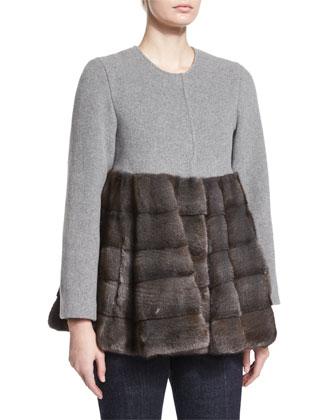A-Line Coat W/Fur & High-Waist Flare-Leg Denim Pants