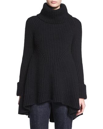 Ribbed Long-Sleeve Tunic Sweater, Black