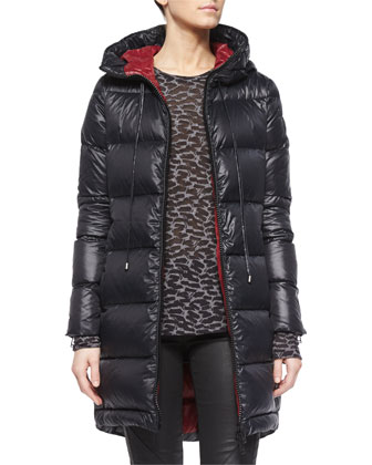 Funnel-Neck Long Puffer Coat, Long-Sleeve Animal-Print T-Shirt & Coated ...