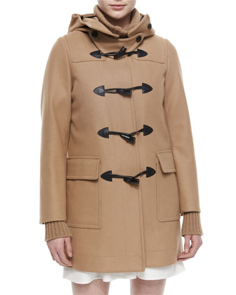 Hooded Toggle-Front Duffel Coat, Cashmere-Blend Ribbed Turtleneck Tunic ...