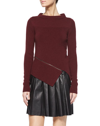 Mock-Neck Angled Zip Sweater & Pleated Leather A-Line Skirt