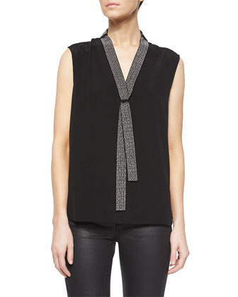 Quilted-Shoulder Cashmere-Blend Coat, Studded Tie Tunic/Blouse & Coated ...