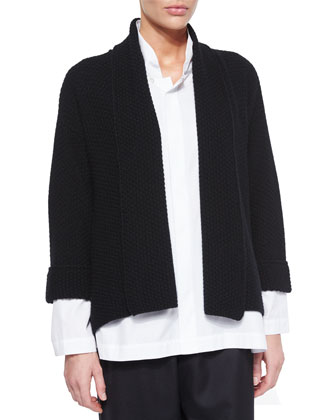 Cashmere Shawl-Collar Cardigan, Black